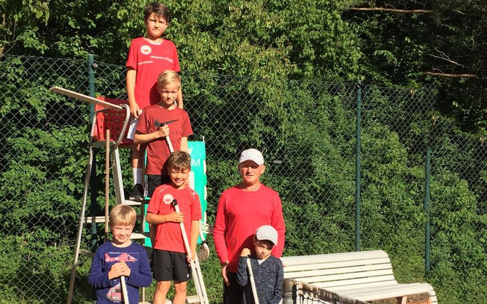 Tennis Weiss-Rot - Dunlop Kleinfeld U9